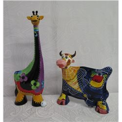 "Qty 2 Figurines: 26"" Tall Giraffe & 16"" Cow Handpainted Turov Art Ceramics"