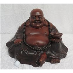 "Carved Wooden Seated Buddha 19""W, 13"" High"