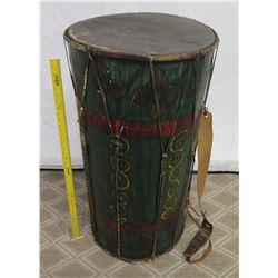 "Vintage Bongo Drum w/ Rope Netting & Shoulder Strap 19"" Diameter x 39"" Tall"