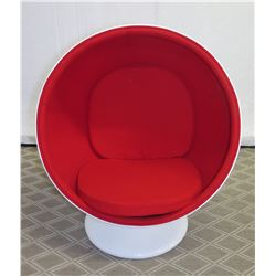 "White Ball Pod Chair on Pedestal Base w/ Red Upholstery, Approx. 39"" Dia, 51"" High"