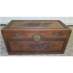 """Carved Wooden Chest w/ Asian Ship Design & Metal Clasp 41"""" x 20"""" x 22"""" Ht"""