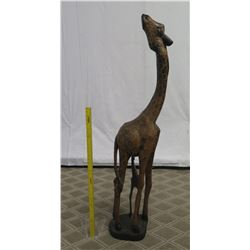"""Tall Carved Wooden Giraffe w/ Baby, 56"""" High"""