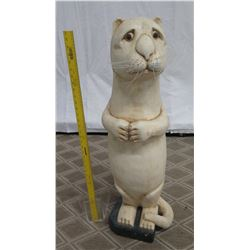 """Tall Carved Painted Wood Cat Figure, Approx. 56"""" Tall"""
