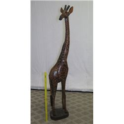 Very Tall Carved Wooden Giraffe, Approx. 6-Ft Tall