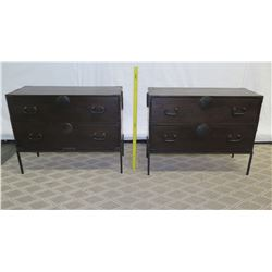 """Pair of Double-Drawer Side Tables 36"""" x 16"""" x 28.5"""" Ht"""