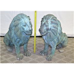 """Pair of Lions, Metal Cast w/ Patina, Approx. 32"""" Tall"""