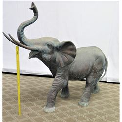 """Very Large Metal Cast Elephant w/ Patina, Approx. 63"""" Long, 4.75-Ft Tall"""