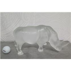 """Lalique Frosted Rhinoceros 6"""" High"""