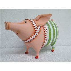 """Pig in Costume w/ Maker's Mark, Resin or Composite Material, 17"""" Tall"""