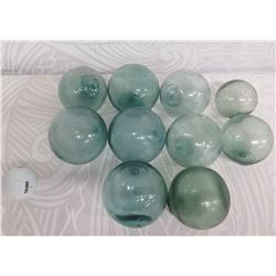 """Qty 10 Small Japanese Glass Fishing Floats Approx. 3-5"""" Diameter"""