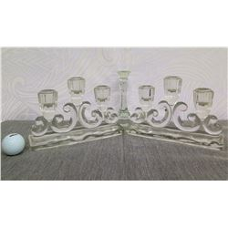 """Qty 2 Glass Candelabra & Matching Single-Candle Holder 6"""" High"""