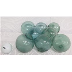 """Qty 8 Vintage Small Japanese Glass Fishing Floats Approx. 3-5"""" Diameter"""