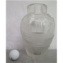 """Frosted Crystal Vase w/ Raised Greco-Roman Motif 9.5"""" High"""