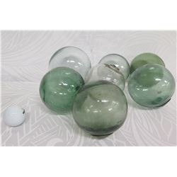 "Qty 7 Small Japanese Glass Fishing Floats Approx. 3-5"" Diameter"