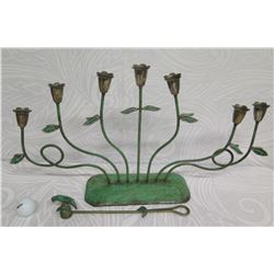 "Metal 7-Flower Candelabra w/ Silverplate Bird Flame Snuffer 13""H, Avila Castillo (Mexico)"