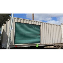 Shipping Container w/ Green Side Roll-Up Door & Chassis 40-Foot (no paperwork available for chassis)