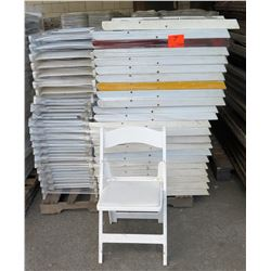 Qty Approx. 65 White Resin Folding Chairs