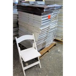Qty Approx. 44 Resin Folding Chairs (41 white & 5 brown)