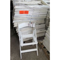 Qty Approx. 100 White Resin Folding Chairs (no seats)