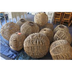 Qty 12 Round Wicker Rattan Woven Round Hanging Lamp Shades