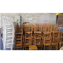 Qty Approx. 144 Wooden Stackable Chairs White & Tan