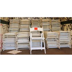 Qty Approx. 100 White Wooden Folding Chairs
