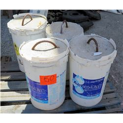 Qty 4 Concrete Tent Pole Weights in 5-Gallon Buckets w/ Rebar Handles
