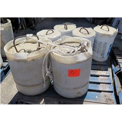 Qty 6 Concrete Tent Pole Weights in 5-Gal & 10-Gal Buckets w/ Rebar Handles