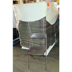 Qty 145 Metal & Hard Plastic Folding Chairs