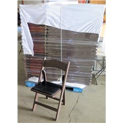 Qty Approx. 69 Brown Wooden Folding Chairs