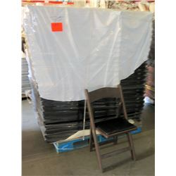 Qty Approx. 75 Brown Wooden Folding Chairs
