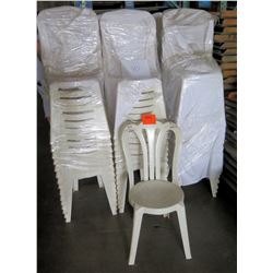 Qty 90 White Plastic Stackable Chairs