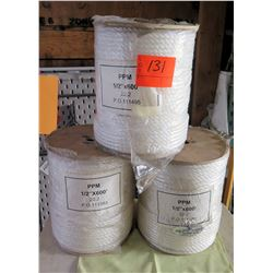"Qty 3 Spools White Rope PPM 1/2""x600' 22.2 (sealed)"