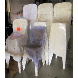 Qty 53 White Plastic Stackable Chairs