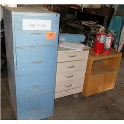 Qty 3 Misc Size Cabinets & Contents: Light Bulbs, 2 Fire Extinguishers, etc