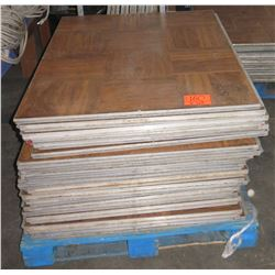 "Qty Approx. 50 Pressed Wood Floor Sections w/ Rails & Metal Frame 36""x36"""