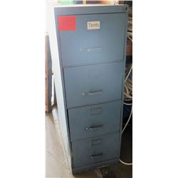 Tall Blue 4-Drawer File Cabinet