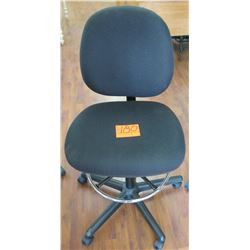 Rolling Black Upholstered Office Chair w/ Footrest Ring