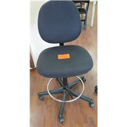 Rolling Gray Upholstered Office Chair w/ Footrest Ring