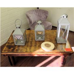 Wooden Tabl, Upholstered Chair & 3 Lanterns