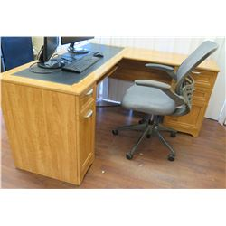 "Wooden ""L"" Shaped Desk w/File Cabinets, Office Chair & 2 Samsung Computer Monitors"