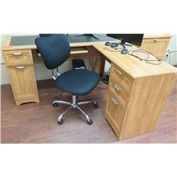 "Wooden ""L"" Shaped Desk w/ File Cabinets, Office Chair & 2 Computer Monitors"