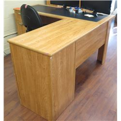 "Wooden ""L"" Shaped Desk w/ File Cabinets, Office Chair & 2 Acer Computer Monitors"