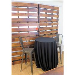 Staging Round Table w/ Tablecloth, 2 Chairs & Wooden Screen Panel