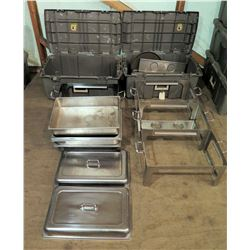 Qty 2 Footed Warmers w/ Chafing Serving Dishes & Lid in Hard Case