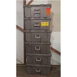Qty 6 Empty Gray Storage Boxes w/ Metal Clasps