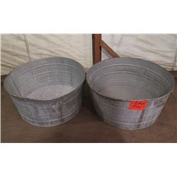 Qty 2 Round Metal Ice Buckets w/ Handles