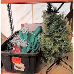 Artificial Christmas Tree on Stand & Bin of Assorted Lights & Ornaments