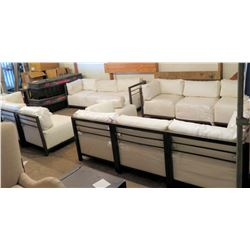Modular Sofa Seating - 2 & 3 Seat Sections, Metal Frames, White Cushions