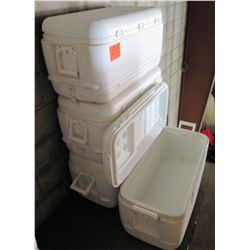 Qty 4 Large White Igloo Coolers w/ Handles & Drain